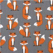 Tela laminada superior gris zorro 'Fabulous Foxes' de Robert Kaufman