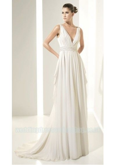 Wedding dress online shop - Chiffon V-neck Rouched Bodice Zipper in ...