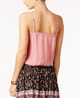 American Rag Tie-Front Crochet-Trim Top, Only at Macy's - White XXS