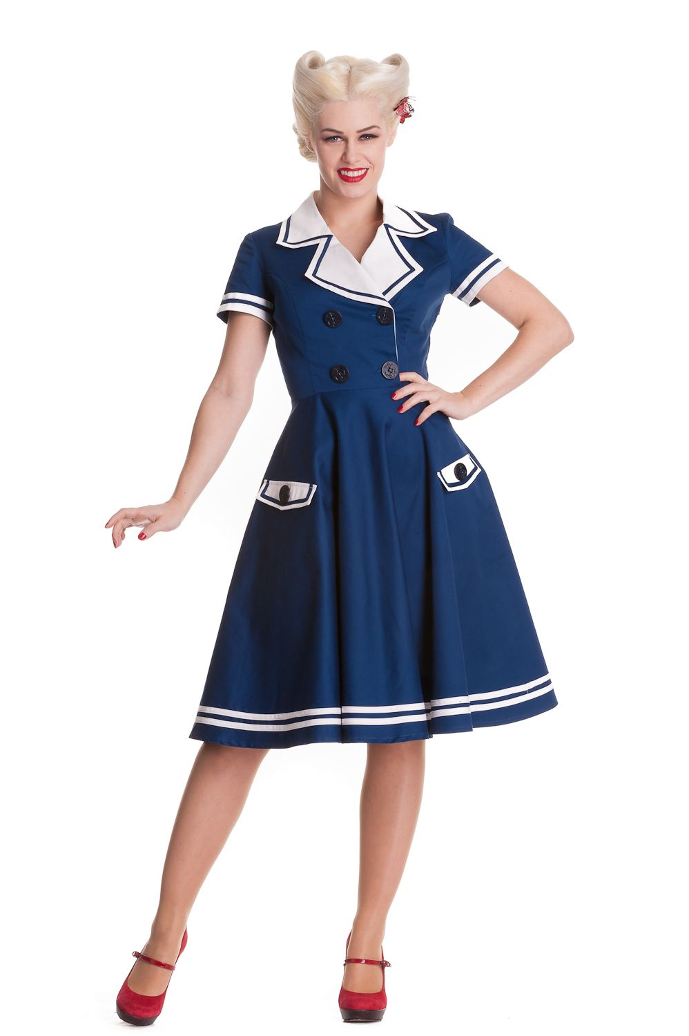 d73a5be687efc The gorgeous Seafarer Dress by Hell Bunny - available in navy white and  black white