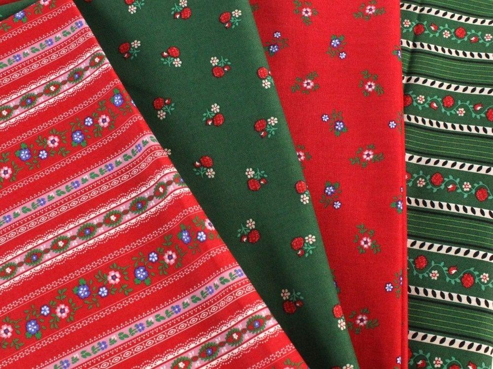 Baumwollstoff Folklore Stripes, rot