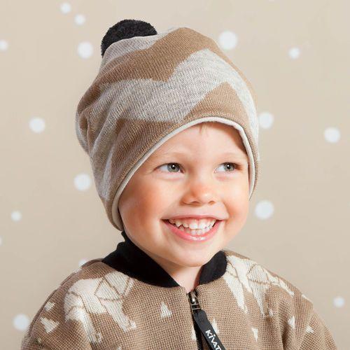 SIK SAK pipo, ruskea - mel.harmaa | NOSH & KIVAT villavaatemallisto tarjoaa villavaatteita  ja asusteita syksyyn ja talveen! Pipoja myös aikuisille. Tutustu mallistoon ja tilaa NOSH vaatekutsuilta, edustajalta tai verkosta http://nosh.fi/category/950/ | (This collection is available only in Finland )