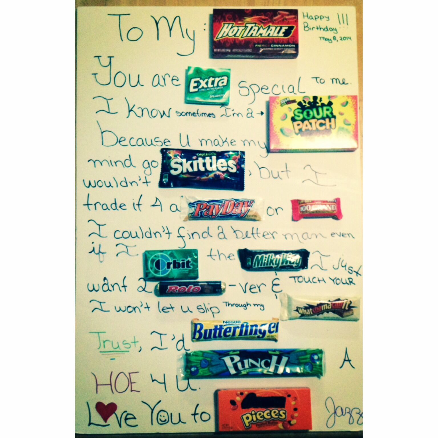 Boyfriend candy birthday card t ideas Pinterest
