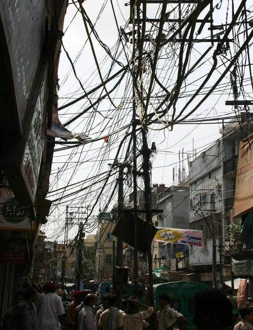 Awe Inspiring Crazy Wiring Mess India Electric Telephone Line A Different Wiring 101 Tzicihahutechinfo
