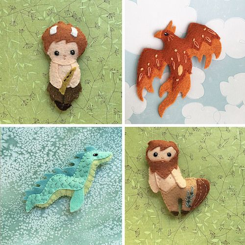new felt mythical creatures sewing pattern! diy felt fantasy minis ...