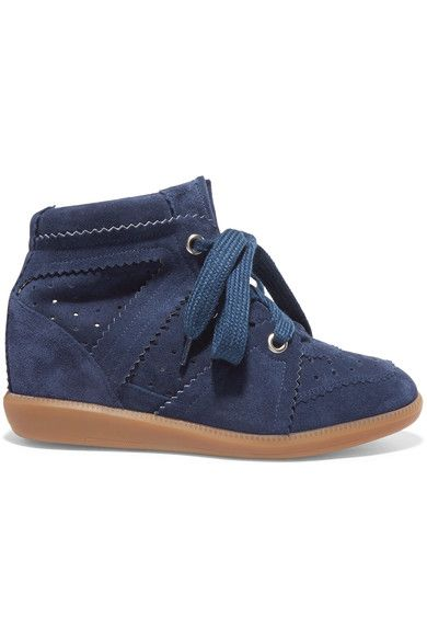 f6491009af Isabel Marant - étoile Bobby Suede Wedge Sneakers - Navy | Products ...