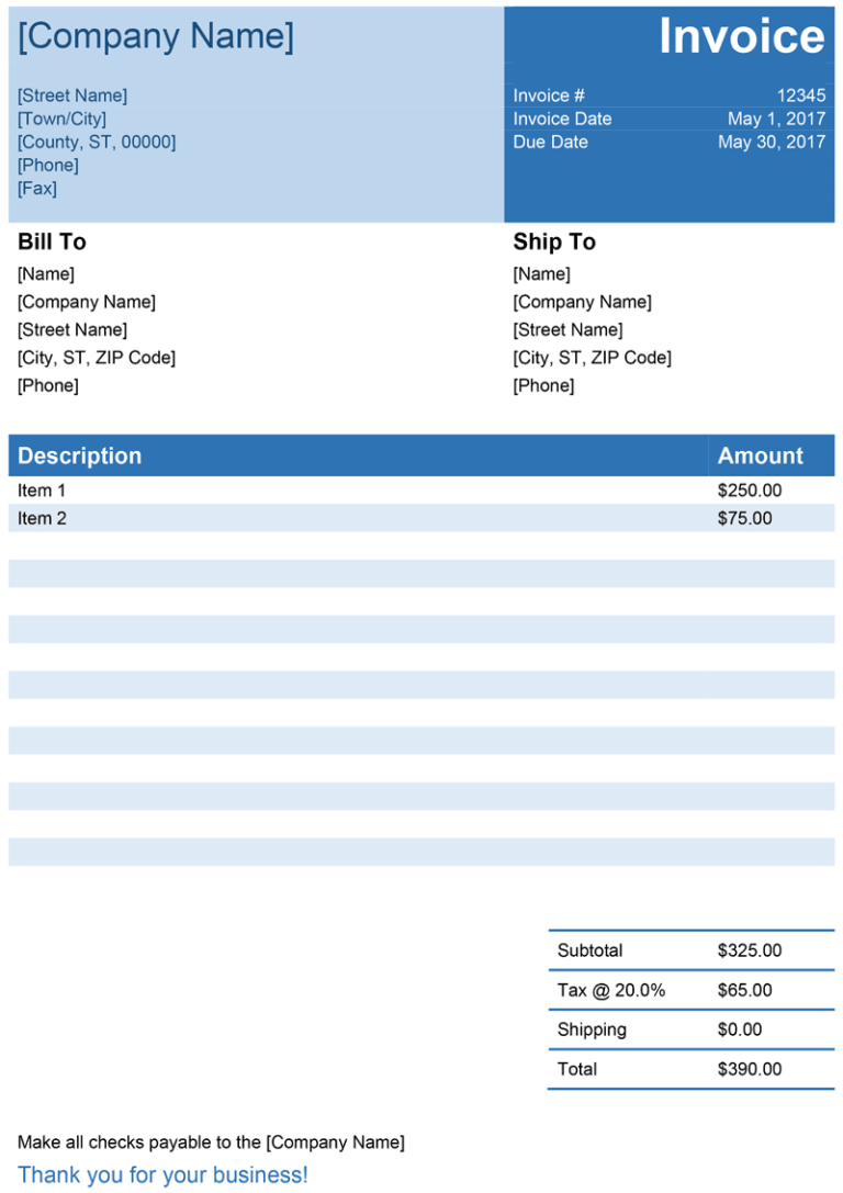 Downloadable Receipt Template Free