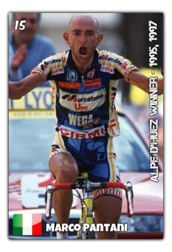 Marco Pantani, vainqueur à l'Alpe d'Huez en 1995 et 1997 - https://www.facebook.com/vtccyclisme