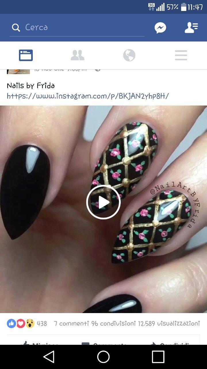 Nero reticolato rose | unghie monocolore e nail art | Pinterest | Rose