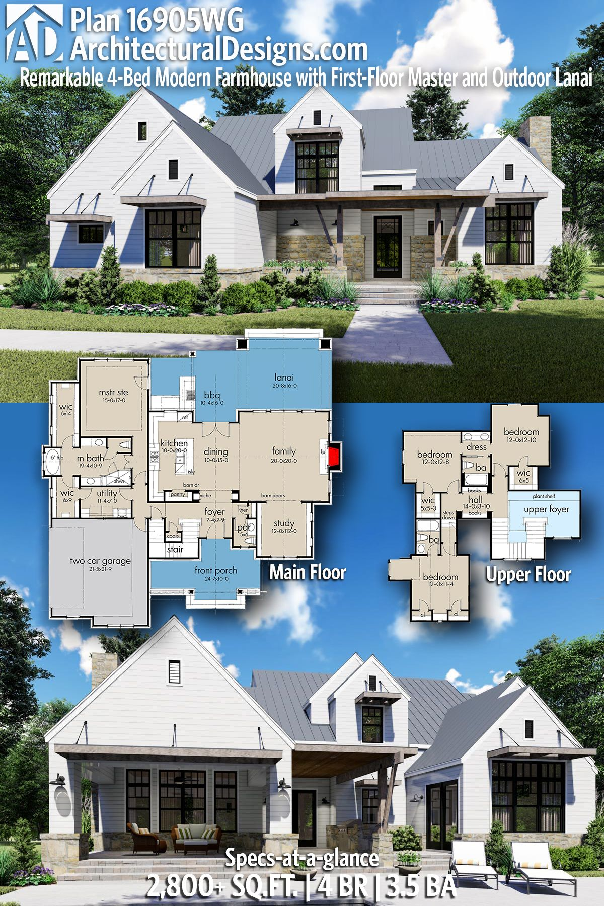 Plan 16905WG Remarkable 4Bed Modern Farmhouse with First