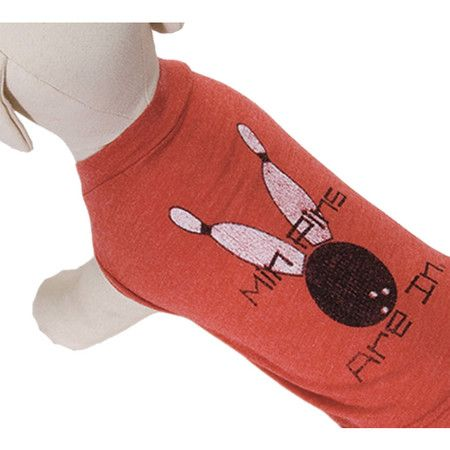 Dog tee with a distressed print in red.  Product: Dog teeConstruction Material: Cotton and polyester...
