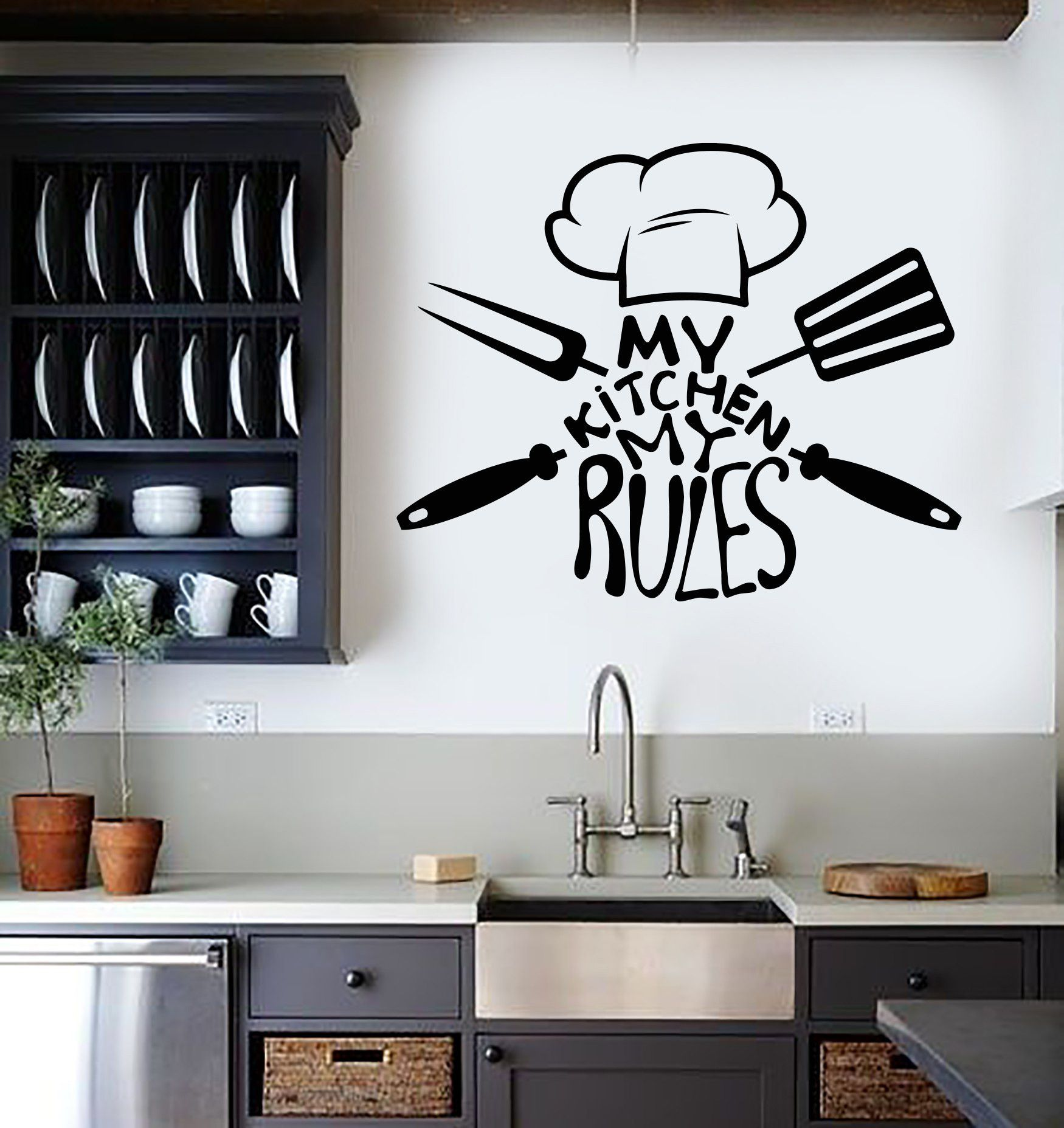 Vinyl Wall Decal Kitchen Quote Chef Restaurant Stickers Mural Unique Gift ig3705 in 2019