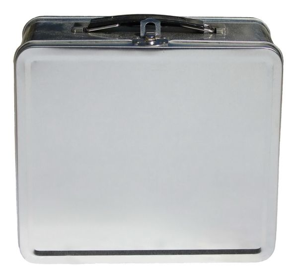 Beautiful Metal Lunch Tin Part - 7: Very Attractive Silver Metal Lunch Box With Attractive Plastic Handle. Each Lunch  Box Is Enclosed