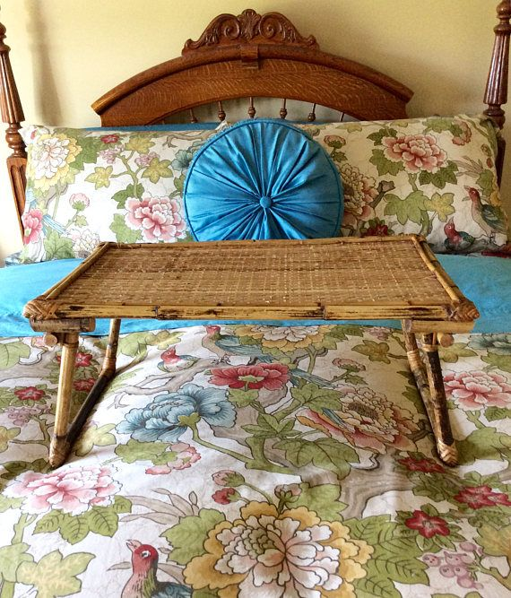 Gorgeous Vintage Bamboo Breakfast In Bed Tray Folding Legs For Easy Storage In Excellent Condition Rattan Top With Bed Tray Vintage Home Decor Vintage House