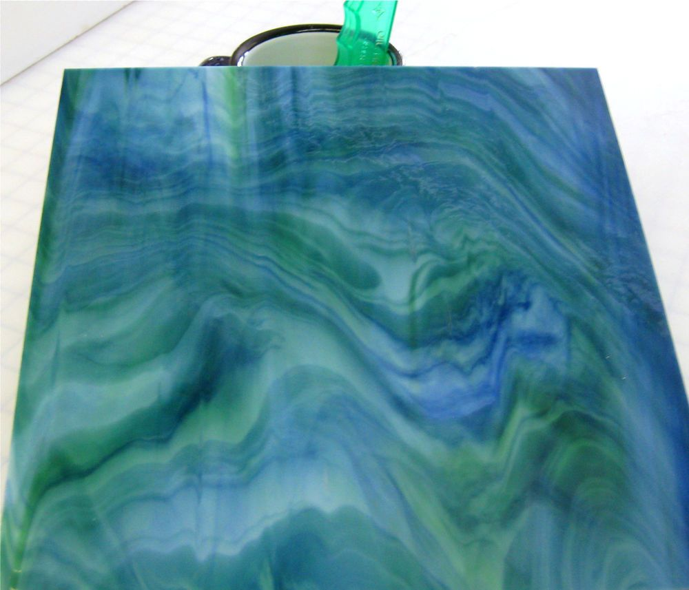 EARTH TONES BLUE GREEN MARBLE OPAL Stained Glass SHEET or Mosaic ...