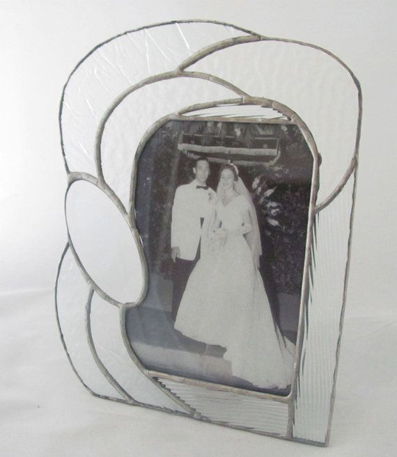 Clear Texture Hand Crafted Stained Glass table top Picture Frame Wedding Gift with Oval Bevel