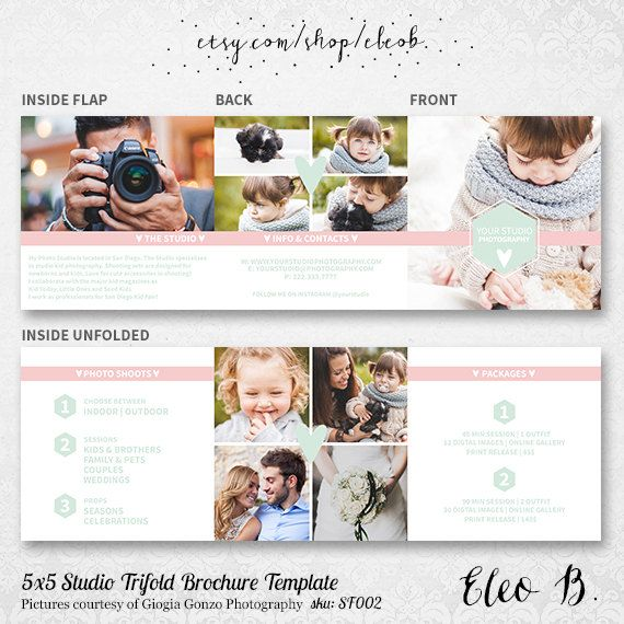 5 x 5 Trifold Fotografie Marketing Broschüre Vorlage - Fotografie ...