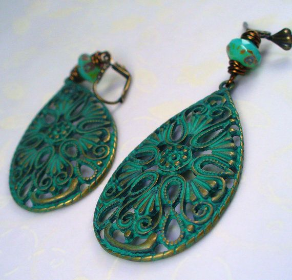 patinated brass and green glass bead