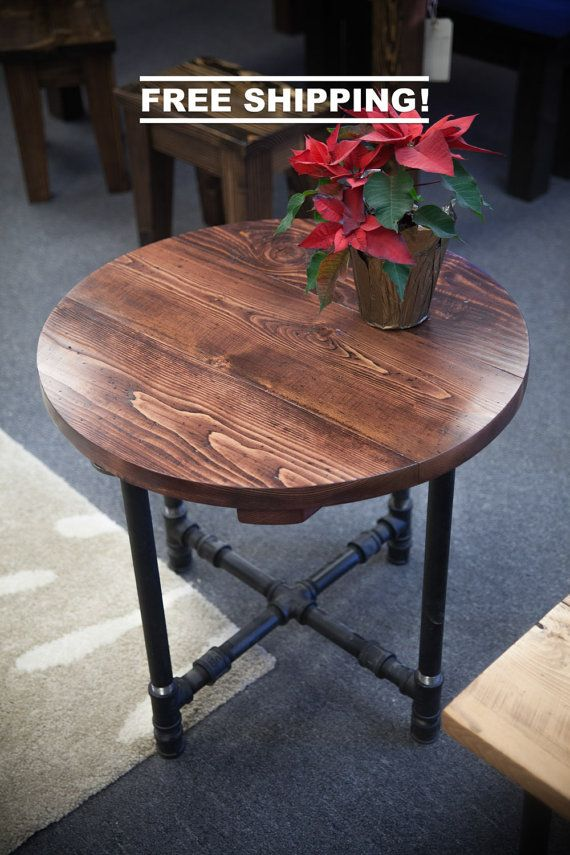 Industrial End Table (Free Shipping!) End Table with Black Metal - mesitas de madera