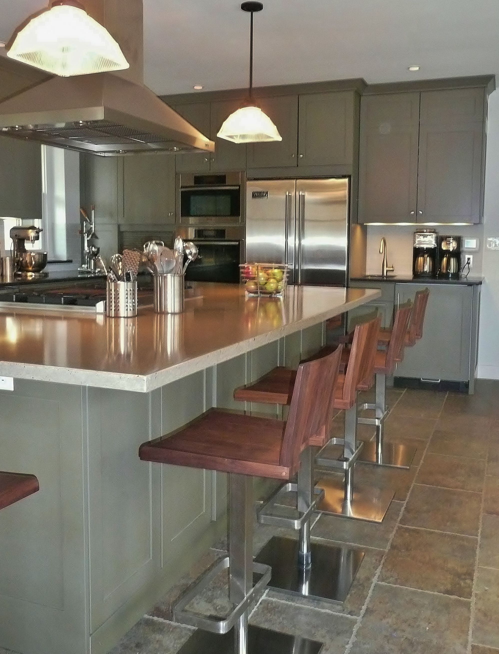 fascinating modern walnut kitchen cabinets | I had the cabinets lacquered in sage green, while vintage ...