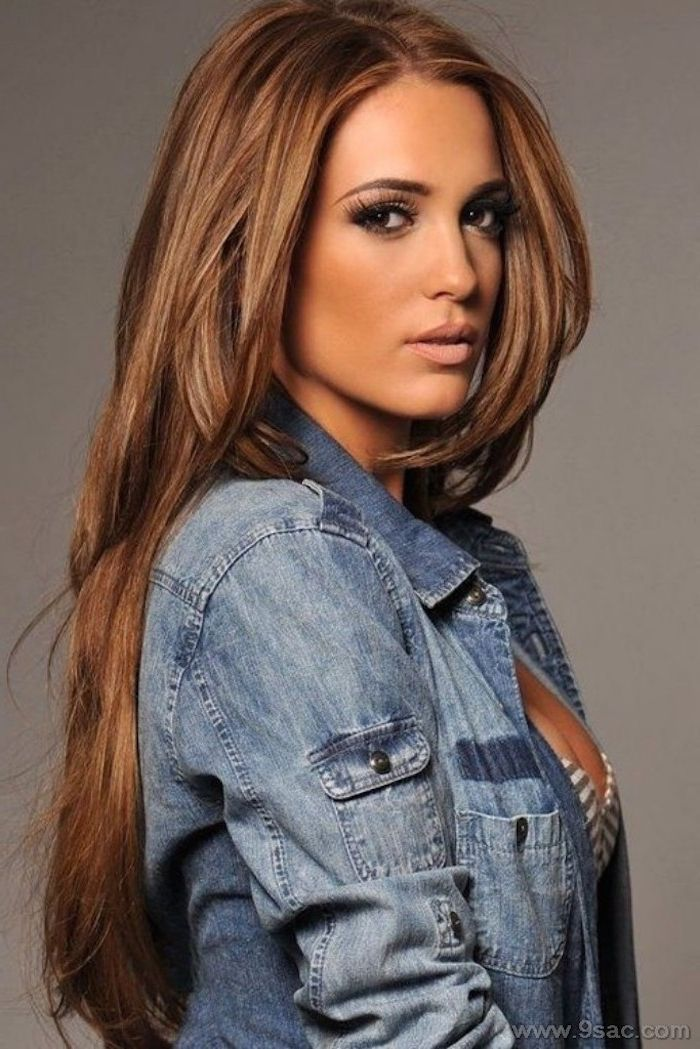 Caramel Hair Color Woman With Long Caramel Hair And Denim