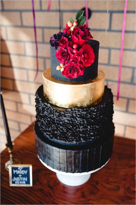 Romantic Red And Black Wedding Wedding Cake Red Wedding Cakes