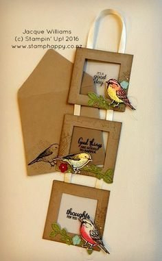 handmade greeting card using Best Birds ,,, three connected frames with stamping on acrylic sheets and a colored and die cut bird in the corner  ... hanging framed card  great for home decor .Stampin' Up!..