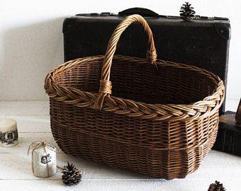 Large Wicker Laundry Basket Storage, French Wicker Basket For Storage,  French Laundry Basket Vintage
