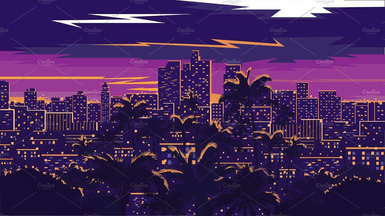 Los Angeles skyline #skyline#Angeles#Los#illustration ...