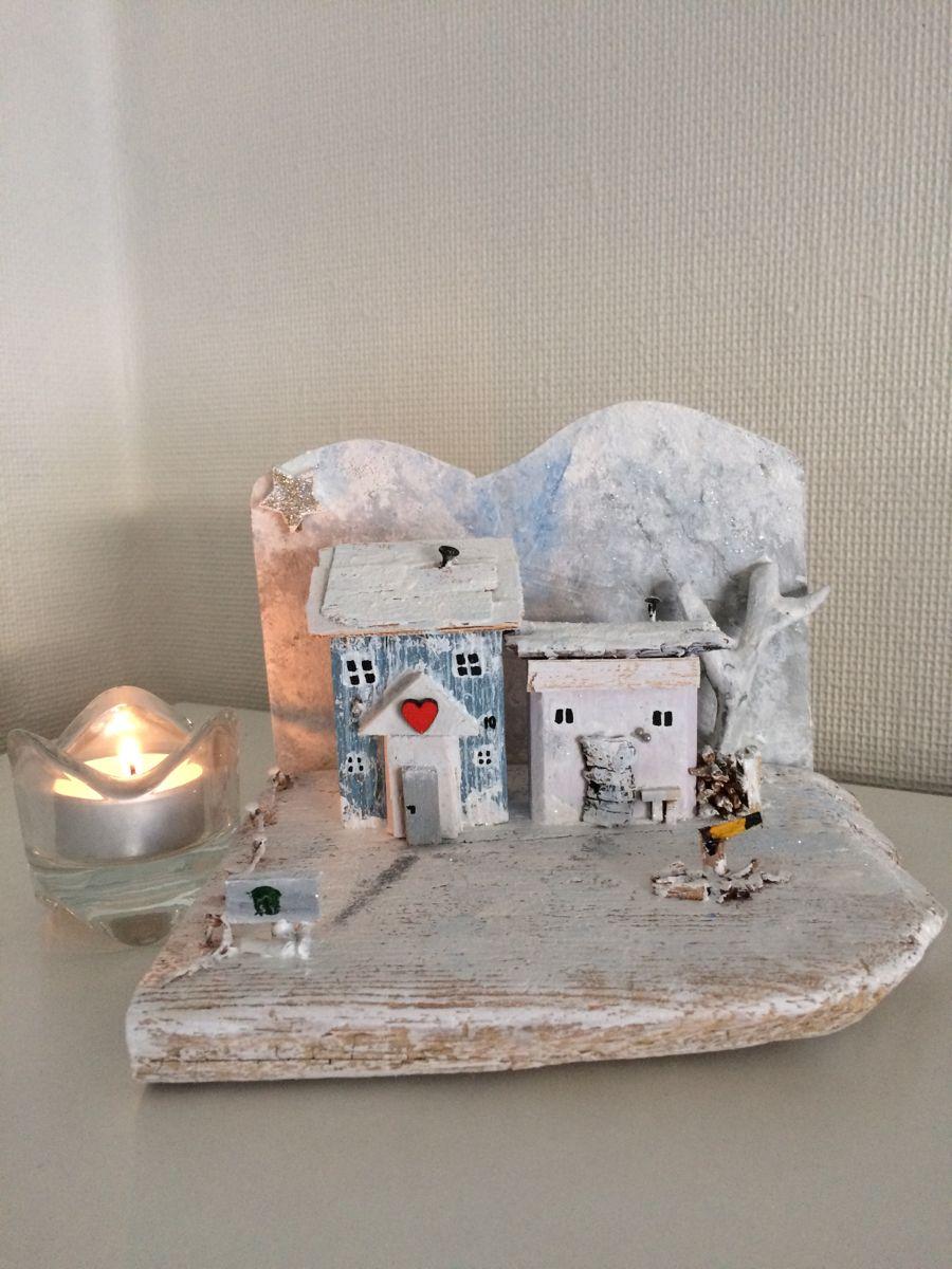 Winter Handmade Wooden Gift Mini Driftwood Cottage House