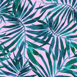 African Summer Tropical Palmtree Print by Danii Pollehn Seamless Repeat  Royalty-Free Stock Pattern