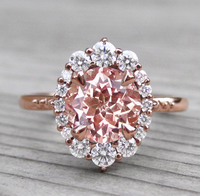 Peach sapphire engagement ring stunning i do pinterest peach sapphire engagement ring stunning junglespirit Choice Image