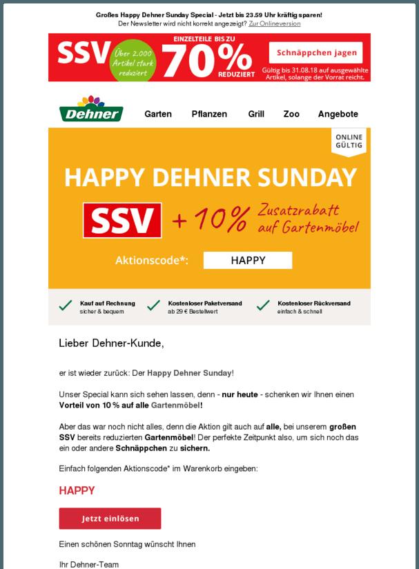 Happy Dehner Sunday 10 Zusatzrabatt Auf Gartenmobel Beim Grossen Ssv Finale Wohnengarten Https Deal Held De Happy Dehner S Garten Gartenmobel Rabatt