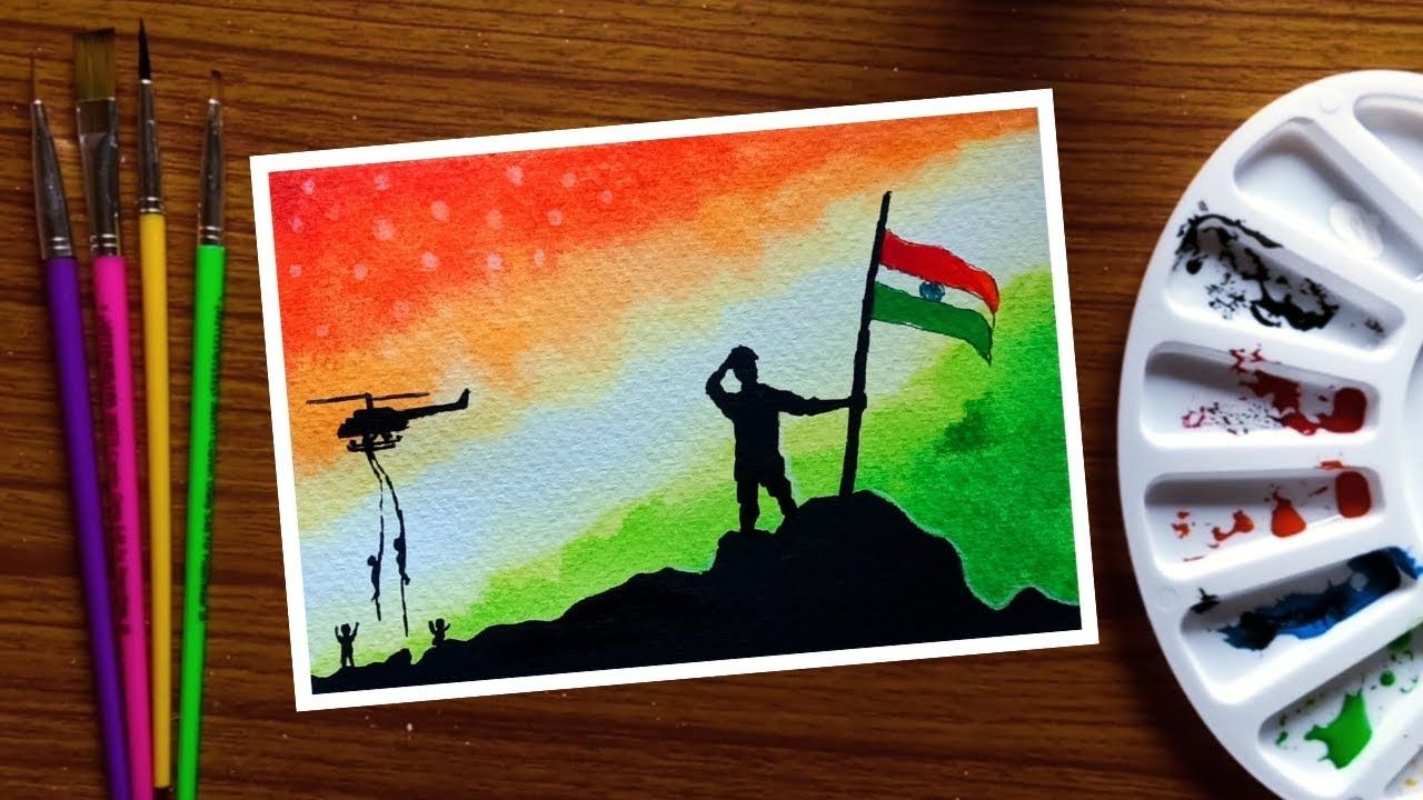 Independence Day Poster Indian Army With Flag Drawing With Poster Co Flag Drawing Independence Day Drawing Army Drawing