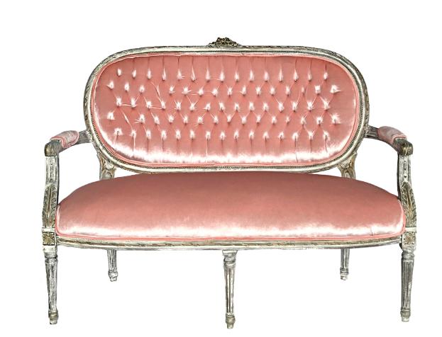 Superb Peach Velvet Vintage Sofa Loveseat With Ornate White Pabps2019 Chair Design Images Pabps2019Com