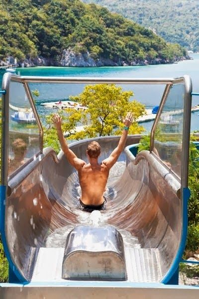 Labadee , Haiti. I haven't yet checked out the water slide but it looks like fun!