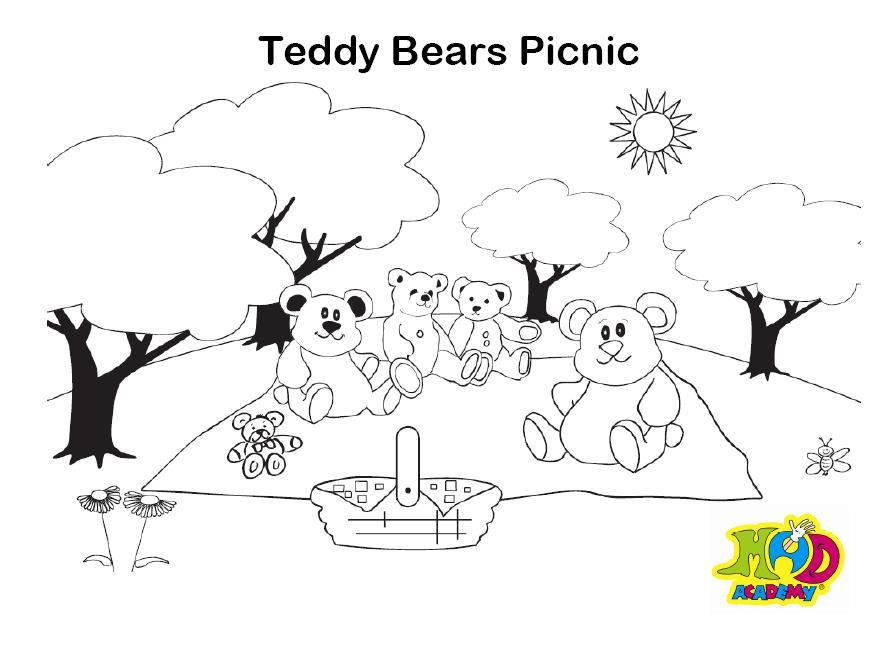 Awesome Coloring Page For The Book Teddy Bear Picnic Love Teddy Bear Picnic Coloring Pages Teddy Bear