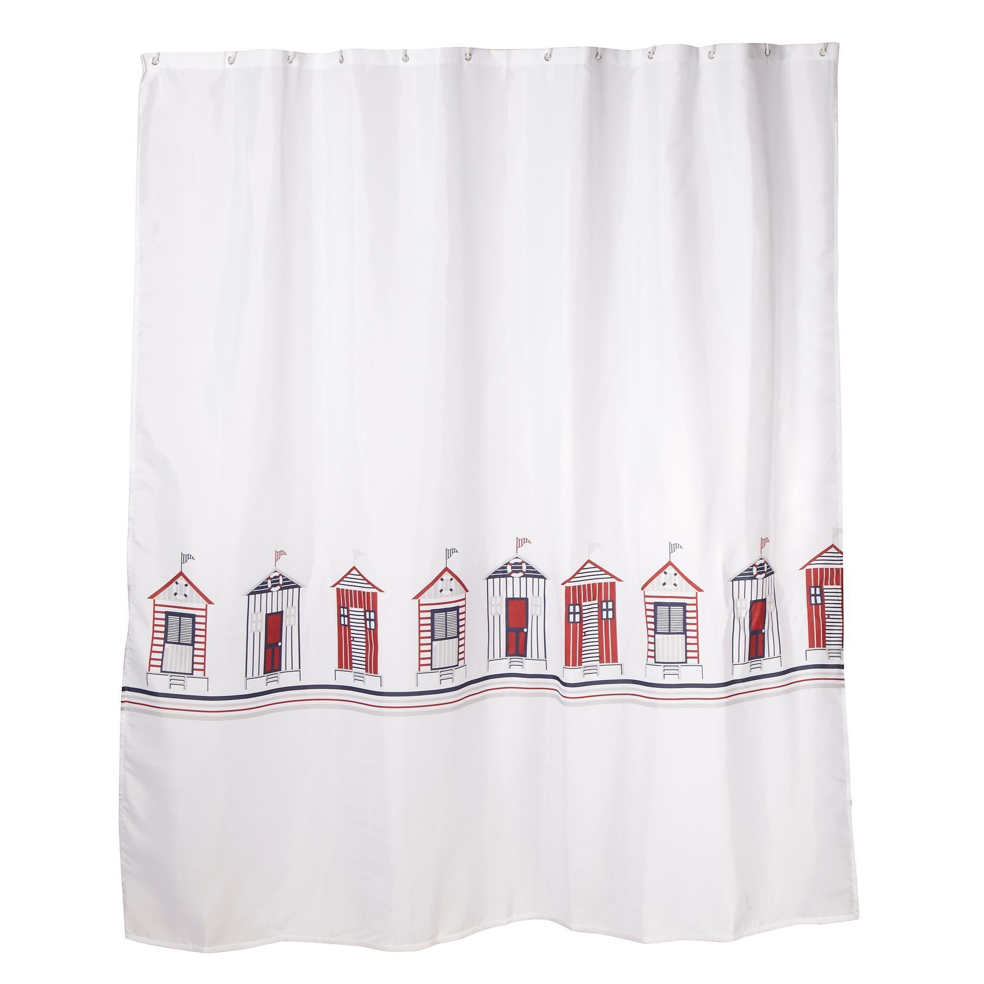 White 180 x 180cm beach huts shower curtain - Shower curtains ...