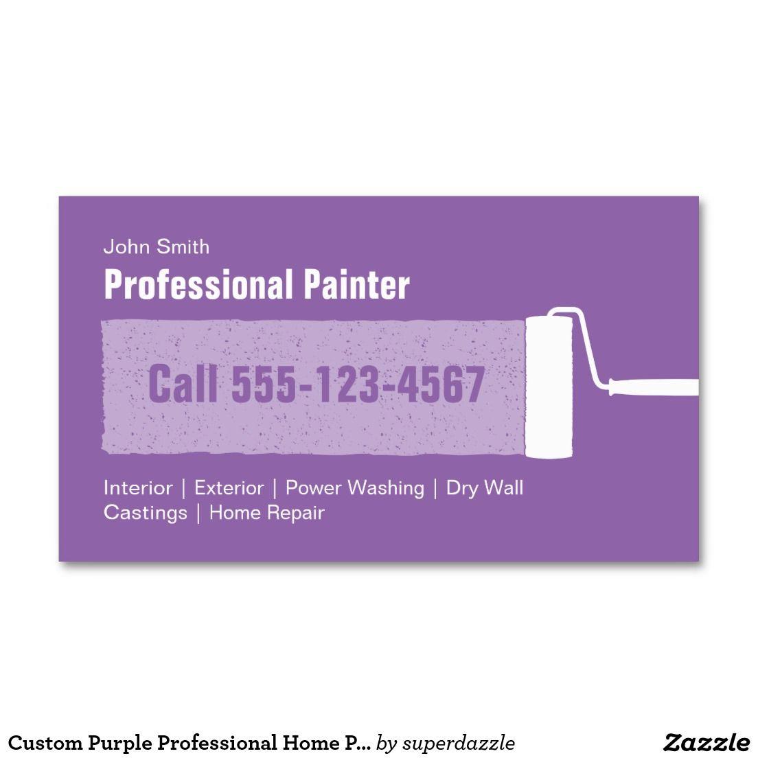 Custom Purple Professional Home Painting Business Card   Elegant ...