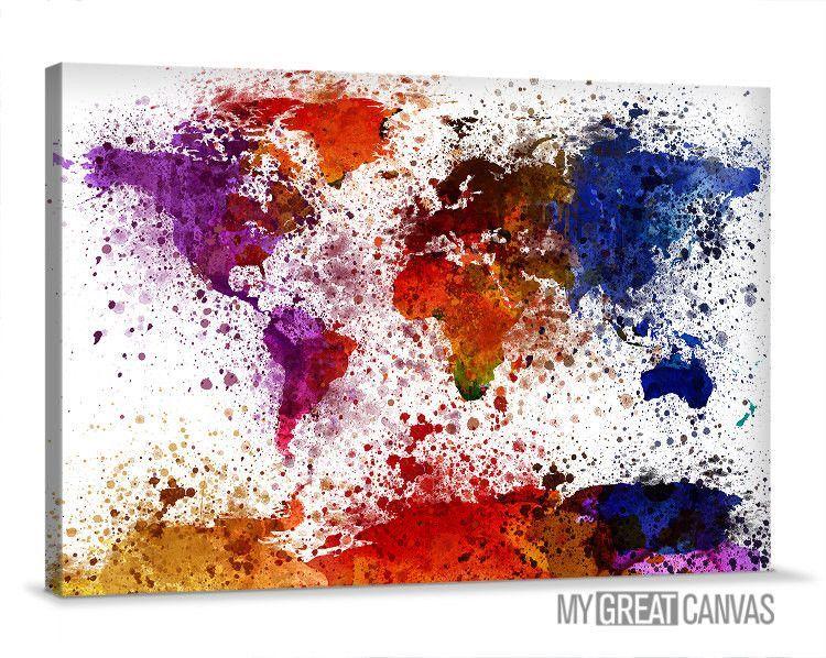 Canvas prints ink splash colorful world map wall art watercolor canvas prints ink splash colorful world map wall art watercolor world map canvas large gumiabroncs Choice Image