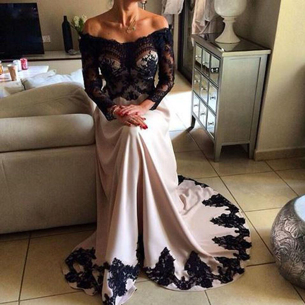 11d5dd882be7bc Off Shoulder Black Lace Top Long Sleeve Sheer Long A-line Prom Dresses