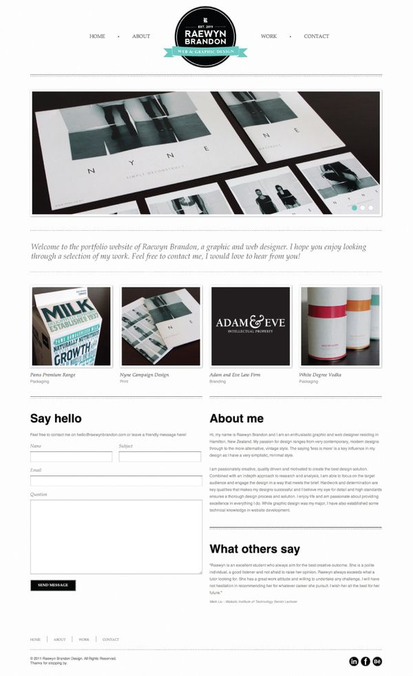 Raewyn Brandon Portfolio Website by Raewyn Brandon, via Behance