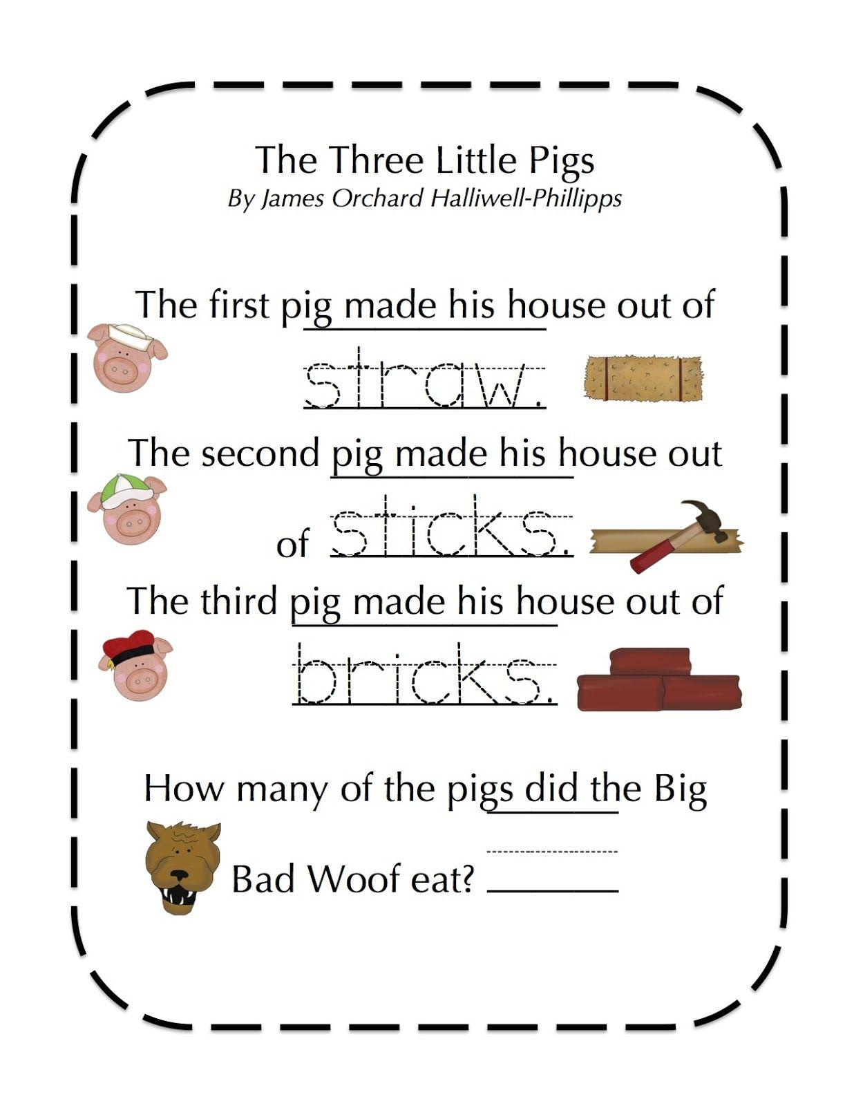 Preschool Printables Freebie 3 Little Pigs Fairy Tales