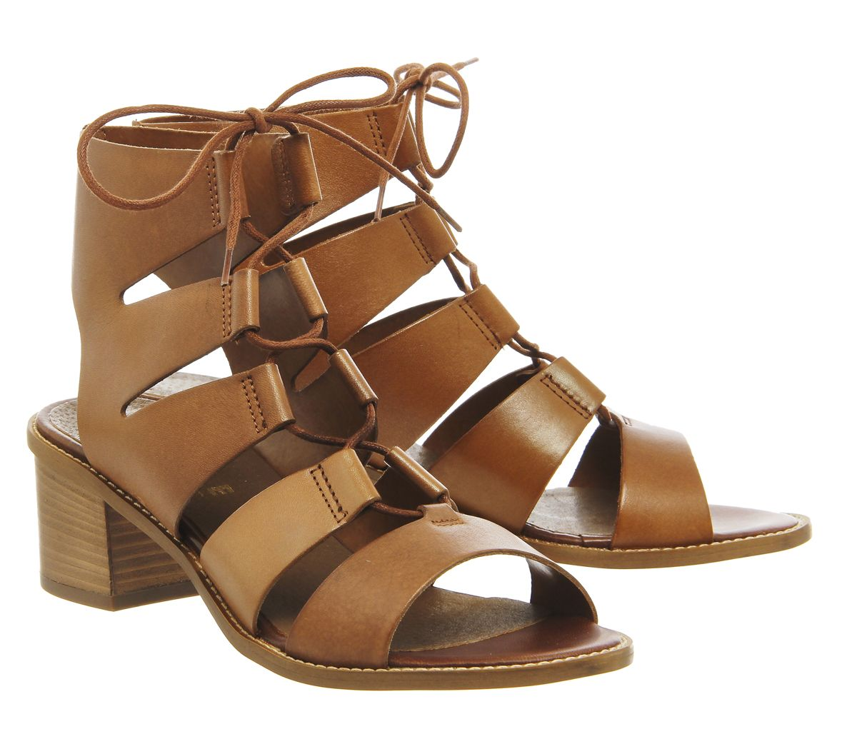 Office Wisteria Gilly Lace Up Block Heel Tan Leather Mid Heels