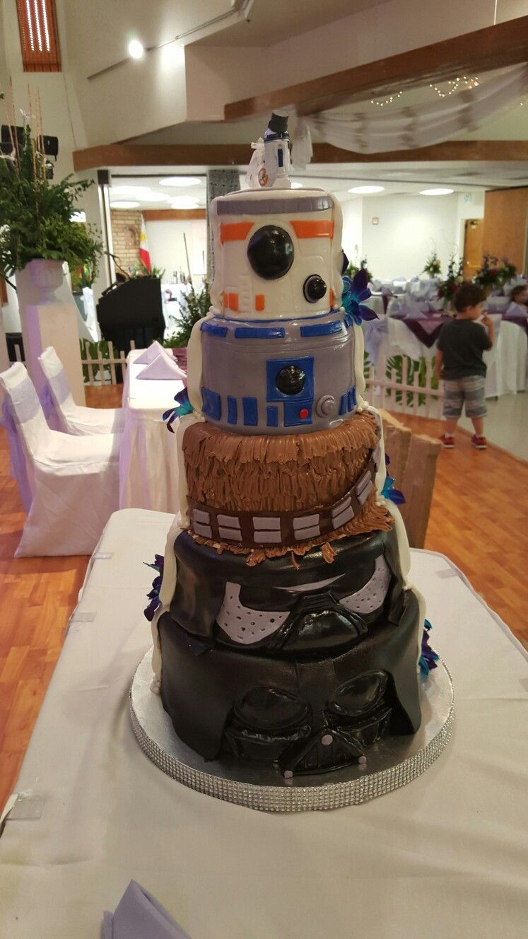 Starwars Half And Half Wedding Cake Starwarsweddingcake Star Wars Wedding Cake Half And Half Wedding Cakes Half Birthday Cakes
