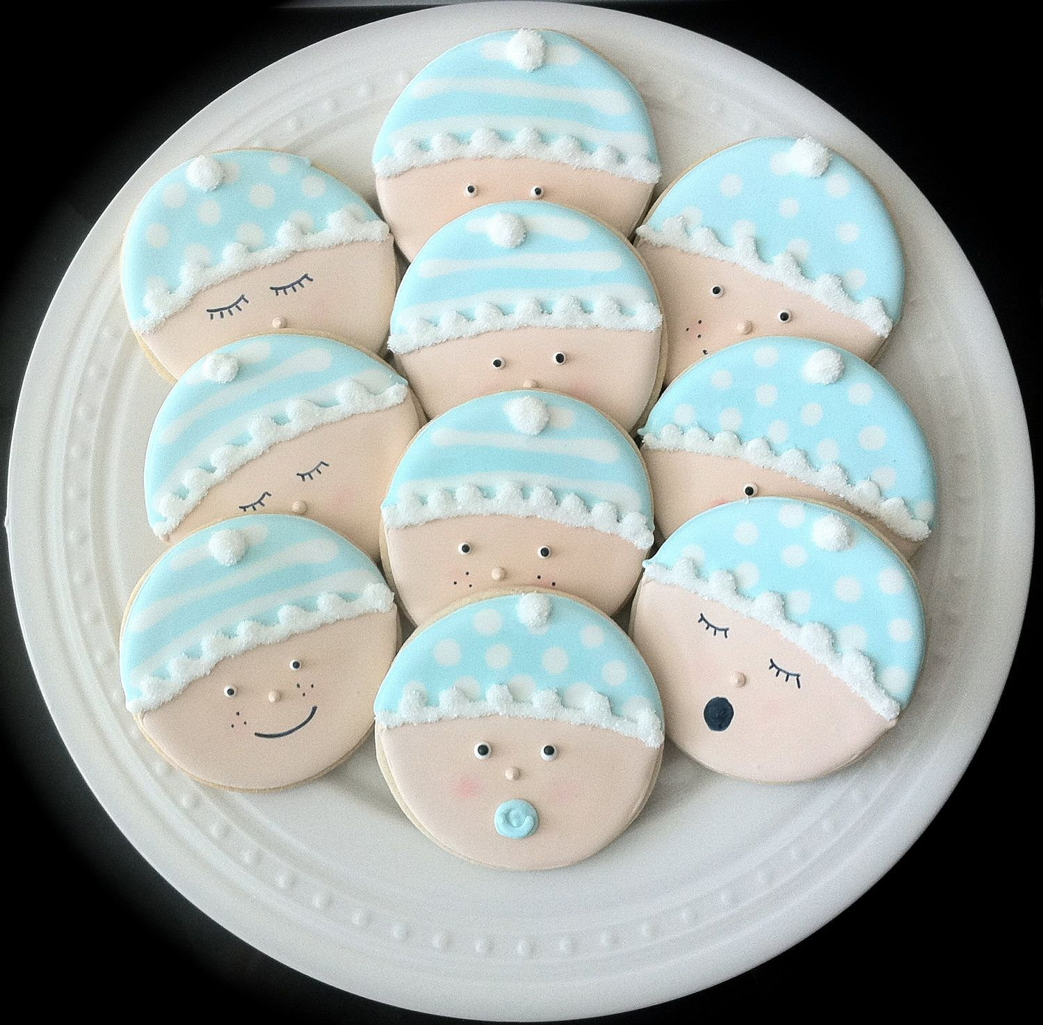 Decorated Baby Shower Cookies Cute Baby Faces In By Peapodscookies