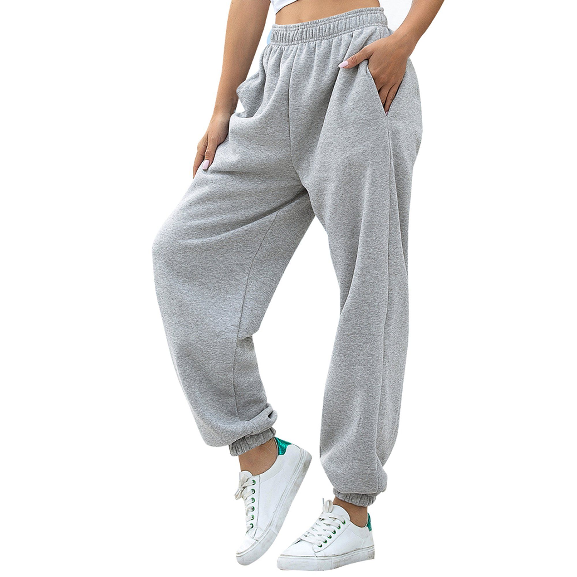 Womens Gym Trouser Casual Fleece Pants Elasticated Ladies Waist Stretchy Joggers