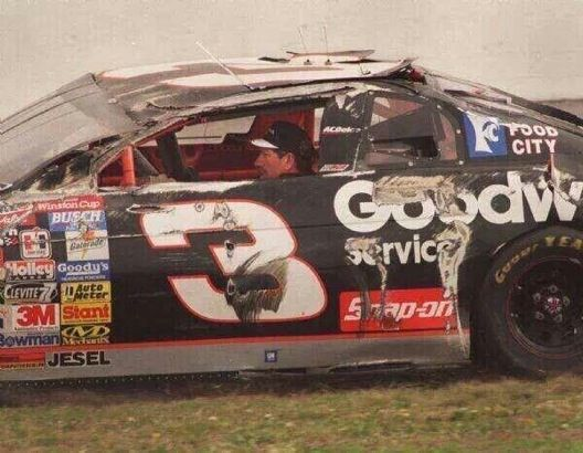 dale earnhardt got back into his flipped race car and drove it to the garage at daytona 500 in. Black Bedroom Furniture Sets. Home Design Ideas