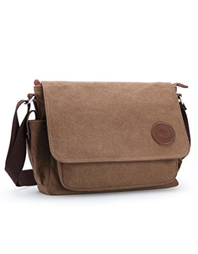 Muzee Men s Shoulder Bag Vintage Military Men Canvas Messenger Bag for  School 3f2bad5ccea0d