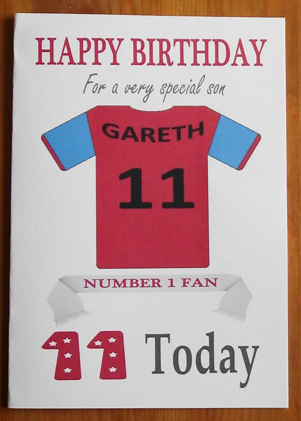 Aston Villa Fan Unofficial Personalised Football Birthday Card Claret Blue Football Birthday Birthday Cards Personalized Football